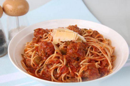 Spaghetti and meatballs Symply Too Good Cookbook 6