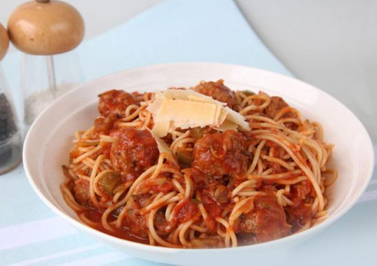 Spaghetti and meatballs Symply Too Good Cookbook 6