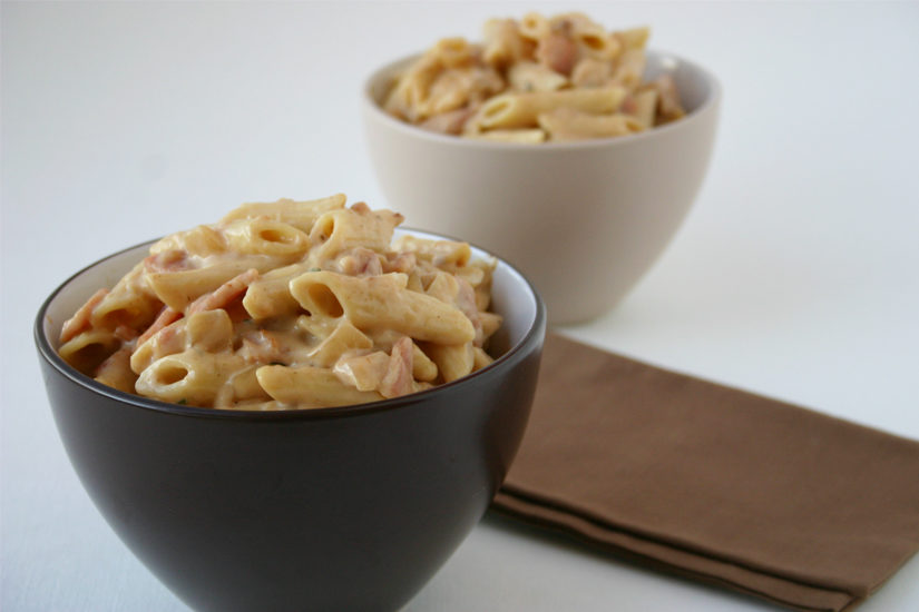 Penne Pasta with Creamy Bacon Sauce