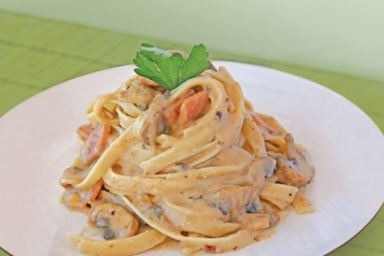 healthy Fettuccine Carbonara